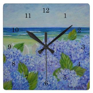 Hydrangeas By The Sea Wall Clock