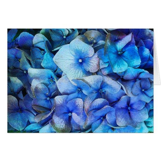 Hydrangeas, flower card, blue flower, spring card