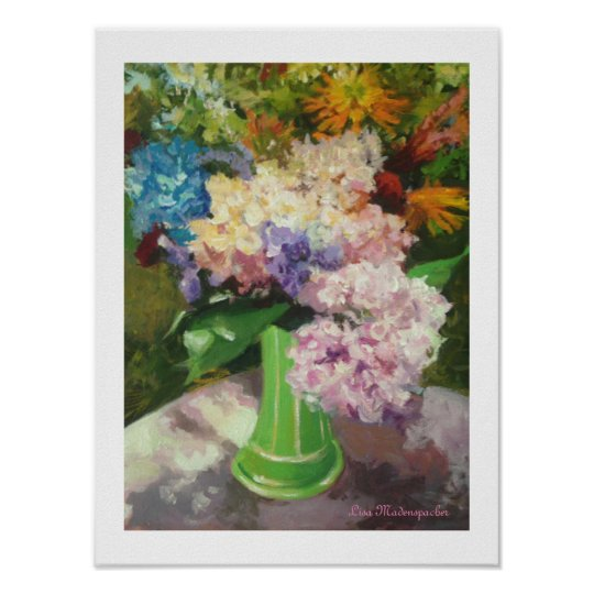 Hydrangeas in a Green Vase Poster