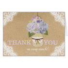 Hydrangeas Lace Kraft Rustic Modern Thank You Card