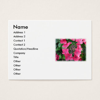Hydrangeas. Pink Flowers. White. Business Card