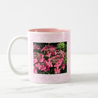 Hydrangeas. Pretty Pink Flowers. Two-Tone Coffee Mug