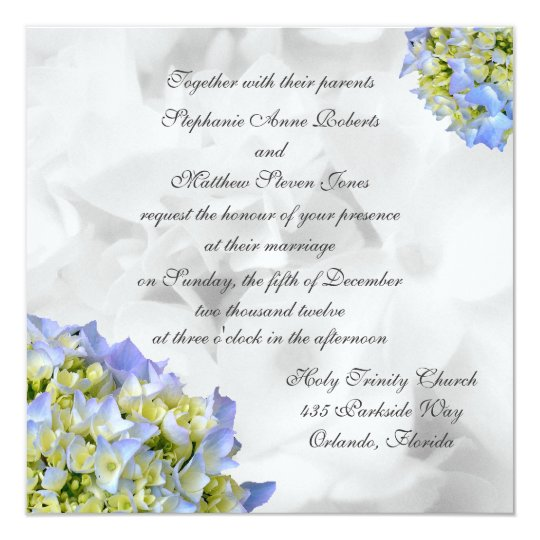 Hydrangeas Square Wedding Invitations