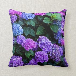 Hydrangeas Watercolor Purple Cushion