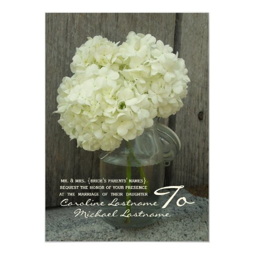 Hydranges & Barnwood Wedding Invite 13 Cm X 18 Cm Invitation Card