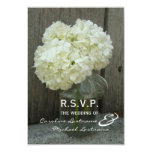 Hydranges & Barnwood Wedding RSVP 9 Cm X 13 Cm Invitation Card