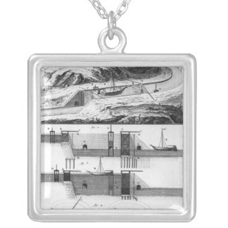 Hydraulic, canal and locks silver plated necklace
