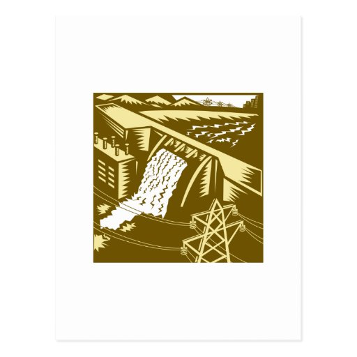 Hydroelectric Hydro Energy Dam Woodcut Post Card