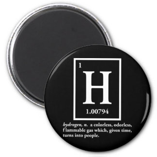 hydrogen - a gas which turns into people 6 cm round magnet