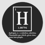 hydrogen - a gas which turns into people round sticker