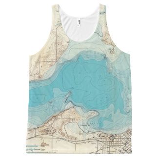 Hydrographic map Lake Mendota All-Over Print Tank Top