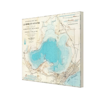Hydrographic map Lake Mendota Canvas Print