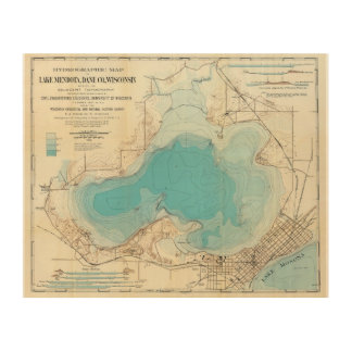 Hydrographic map Lake Mendota Wood Print