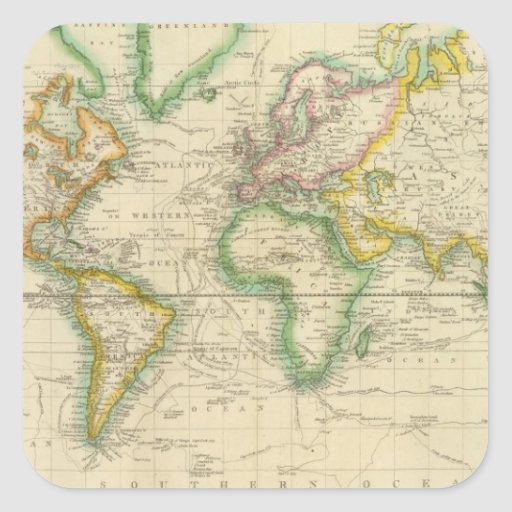 Hydrographical chart of the World Stickers