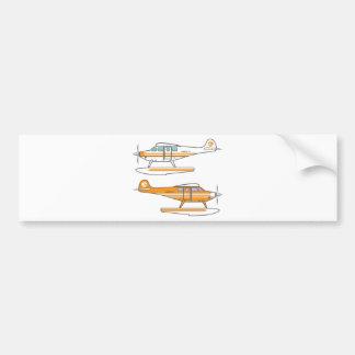 Hydroplane. Floating plane. vector Bumper Sticker