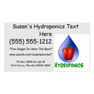 Hydroponics, Bell Pepper, drop, green text Business Cards