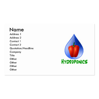 Hydroponics, Bell Pepper, drop, green text Business Card
