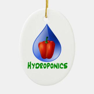 Hydroponics, Bell Pepper, drop, green text Christmas Tree Ornament