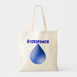 Hydroponics blue letters with blue drop graphic bag