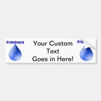 Hydroponics blue letters with blue drop graphic car bumper sticker
