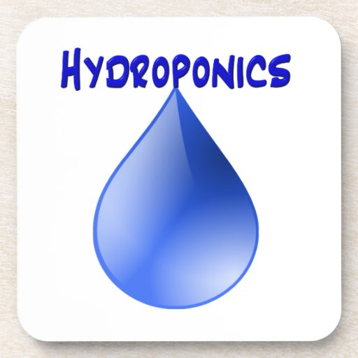 Hydroponics blue letters with blue drop graphic coasters