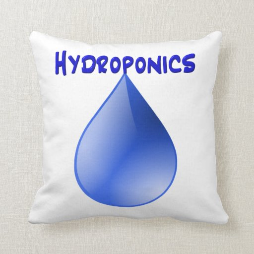 Hydroponics blue letters with blue drop graphic throw pillows