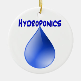 Hydroponics blue letters with blue drop graphic christmas ornaments