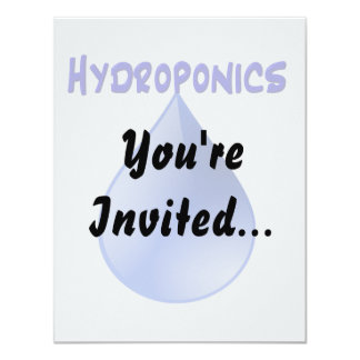 """Hydroponics blue letters with blue drop graphic 4.25"""" x 5.5"""" invitation card"""