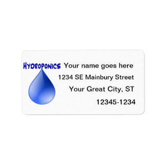 Hydroponics blue letters with blue drop graphic address label