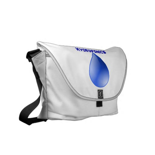 Hydroponics blue letters with blue drop graphic messenger bag