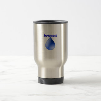 Hydroponics blue letters with blue drop graphic coffee mug