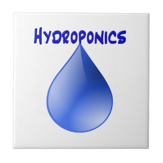 Hydroponics blue letters with blue drop graphic ceramic tiles