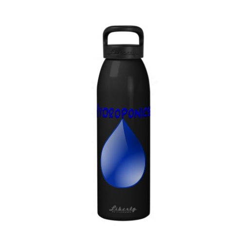 Hydroponics blue letters with blue drop graphic reusable water bottle
