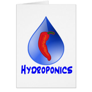 Hydroponics, chili pepper, blue text design greeting cards