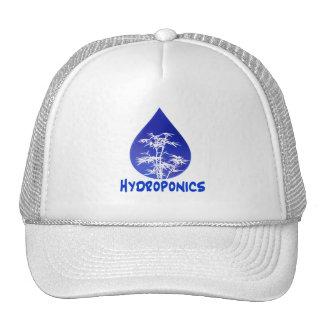 Hydroponics design , blue drop and white tree trucker hat