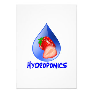 Hydroponics Design with strawberry Blue drop Custom Announcement