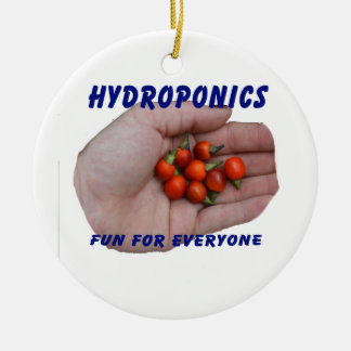Hydroponics Fun Cascabel Hot Peppers Hand Round Ceramic Decoration