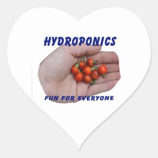 Hydroponics Fun Cascabel Hot Peppers Hand Heart Sticker