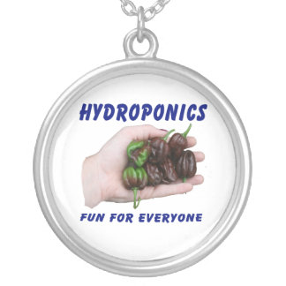 Hydroponics Fun Chocolate Habanero Peppers Round Pendant Necklace