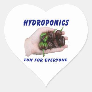 Hydroponics Fun Chocolate Habanero Peppers Heart Sticker