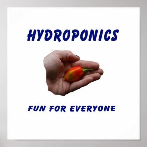 Hydroponics Fun Habanero Pepper in Hand Design Posters