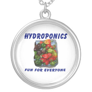 Hydroponics Fun Hot Pepper Pile Canvas Filter Round Pendant Necklace
