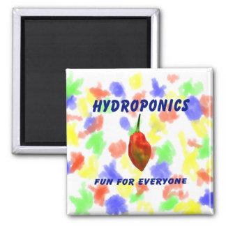 Hydroponics Fun Single Habanero Pepper Design Square Magnet