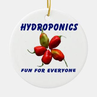 Hydroponics Fun Star Habanero Pepper Design Round Ceramic Decoration