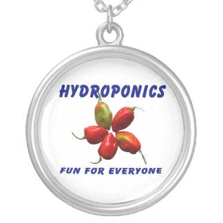 Hydroponics Fun Star Habanero Pepper Design Round Pendant Necklace