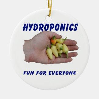 Hydroponics Fun White Habanero Peppers Hand Round Ceramic Decoration