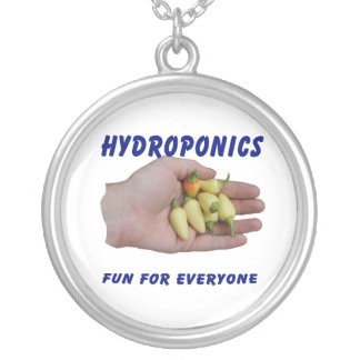 Hydroponics Fun White Habanero Peppers Hand Round Pendant Necklace