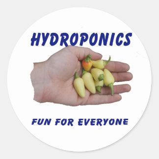 Hydroponics Fun White Habanero Peppers Hand Round Sticker