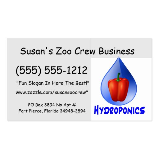 Hydroponics graphic, hydroponic pepper & drop business cards