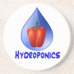 Hydroponics graphic, hydroponic pepper & drop beverage coaster